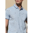 Stylish Men's Polo Shirt Feather Pattern Button Contrasted Trim Short Sleeve Spread Collar Regular Fit Polo Shirt