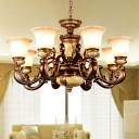 Brown Floral Shade Pendulum Light Traditional White Glass 6/8 Lights Living Room Chandelier