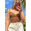 Sexy Womens Leopard Print Lace Trimmed Slim Fit Cropped Cami in Khaki