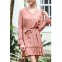 Popular Womens Bell Long Sleeve V-neck Bow Tied Waist Ruffled Mini A-line Dress in Pink