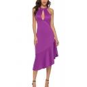 Popular Womens Purple Sleeveless Cut-out Ruffled Irregular Hem Mid Sheath Dress