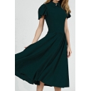 Special Occasion Womens Rhinestone Detail Bell Short Sleeve Point Collar Mid Pleated A-line Dress in Green