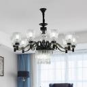 13-Bulb Horn Shaped Up Chandelier Vintage Black Crystal Hanging Ceiling Light for Living Room