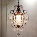 Black/Chrome Gourd Frame Pendant Lamp Vintage Crystal 1 Head Dining Table Suspension Lighting