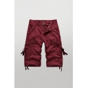 Cool Mens Shorts Solid Color Zip Fly Button Drawstring Detail Longline Straight Fit Chino Cargo Shorts with Flap Pockets