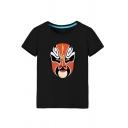 Beijing Opera Patterned Short Sleeve Round Neck Loose Fit Stylish T Shirt for Men