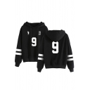 Fashionable Number Footprint Graphic Striped Long Sleeve Loose Fit Hoodie for Men