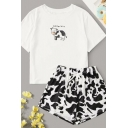 Chic Letter Mooochin Cartoon Cow Graphic Short Sleeve Crew Neck Loose T Shirt & Drawstring Waist Cow Print Relaxed Shorts Co-ords in White