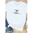 Basic Womens Cartoon Bee Letter Kind Graphic Rolled Short Sleeve Crew Neck Slim Fit Tee Top