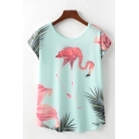 Pretty Womens Flamingo Leaf Printed Short Sleeve Round Neck Relaxed Fit T Shirt