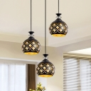 3 Bulbs Multiple Hanging Light Modern Hollowed Out Ball/Ellipse Iron Pendant Lighting in Black with Inserted Crystal