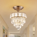 LED Tapered Semi Flushmount Traditional Gold Finish Faceted Crystal Block Close to Ceiling Light