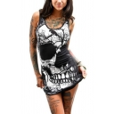 Cool Womens Skull Printed Scoop Neck Mini Tight Tank Dress in Black
