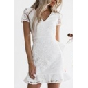 Allover Flower Embroidered See-through Mesh Short Sleeve V-neck Ruffled Trim Bow Tie Waist Boutique Short A-line Dress in White