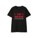 Cool Mens Letter I Can't Breathe Printed Short Sleeve Crew Neck Relaxed Fitted T Shirt