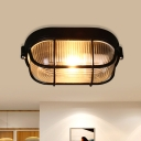 1 Head Clear Ribbed Glass Flushmount Countryside Black Finish Half Oval Corridor Flush Mount Fixture