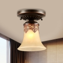 1 Head White Glass Flush Light Fixture Countryside Bronze Bell Corridor Flush Mount