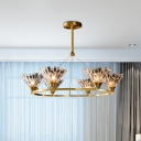 Post Modern Conic Shade Pendant Chandelier 6 Bulbs Beveled Crystal LED Ring Hanging Light in Gold