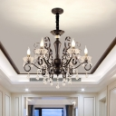 Black Scroll Arm Chandelier Traditional Metal 6-Bulb Bedroom Ceiling Hang Fixture with Crystal Deco