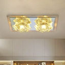 Modernist LED Flush Ceiling Light with Clear Crystal Shade Flower Shaped Flush Mount