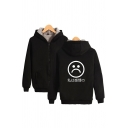 Japanese Letter Cartoon Sad Face Graphic Sherpa Liner Long Sleeve Zipper Front Relaxed Street Hoodie for Boys