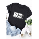 Basic Womens Letter Omg Print Rolled Short Sleeve Crew Neck Slim Fit T-shirt