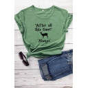 Leisure Girls Letter After All This Time Graphic Rolled Short Sleeve Round Neck Fit Tee Top in Green