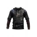 Unique Animal Armor 3D Pattern Pocket Drawstring Full Sleeve Regular Fit Hoodie for Men