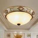 Dome Corridor Flush Ceiling Light Classic Opal Glass 3 Lights Gold Flushmount Lighting