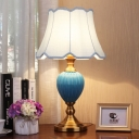 Teardrop Ceramic Table Light Traditional 1 Bulb Bedside Nightstand Lamp with Flared/Tapered Shade in Sky/Light Blue