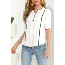 Fashion Ladies Chiffon Half Sleeves V-neck Button up Striped Curved Hem Relaxed Blouse Top