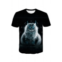 Mens Fashionable Cat Printed Round Neck Short Sleeves Fitted T-Shirt
