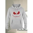Mens Creative Patterned Pocket Drawstring Full Sleeve Regular Fit Hooded Sweatshirt