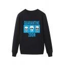 Trendy Mens Skull Mask Letter Quarantine Zoom Printed Pullover Long Sleeve Round Neck Regular Fit Graphic Sweatshirt