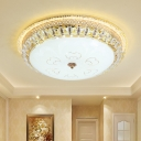 White Glass Bowl Flush Mount Minimalistic Bedroom LED Ceiling Mount Light in Gold with Crystal Edge