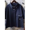 Popular Womens Cartoon Bear Patched Short Sleeve Polo Collar Flap Pocket Relaxed T-shirt