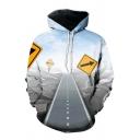 Popular Mens 3D Road Guidepost Printed Pocket Drawstring Long Sleeve Regular Fitted Hooded Sweatshirt
