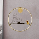 Novelty Asian Style Landscape Mural Lamp Metallic Hotel LED Wall Light Sconce in Gold