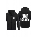 Simple Mens Letter Fuck You Very Much Printed Zipper up Pocket Drawstring Long Sleeve Regular Fit Hoodie