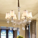 Post Modern 6-Light Hanging Lighting with White Frosted Glass Shade Gold Urn Shape Chandelier in Gold