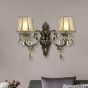 Black and Gold 2-Head Wall Lamp Traditional Frosted Glass Flared Sconce Light with Crystal Droplet