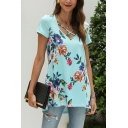 Leisure Womens Allover Flower Print Short Sleeve Criss Cross V-neck Relaxed Fit Tee Top in Blue
