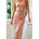 Elegant Ladies One Shoulder Cut out Slit Back Long Sheath Cami Dress in Pink