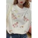Pretty Unicorn Embroidered Short Sleeve Crew Neck Loose Fit T-shirt for Girls