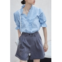 Basic Womens Solid Color Floral Embroidered Stringy Selvedge Puff Sleeve V-neck Button up Relaxed Shirt