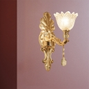 1/2-Head Sconce Light Fixture Traditional Flower Carved Glass Wall Mounted Lamp with Gold Curved Arm