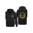 Dressy Devil Pattern Zipper up Pocket Drawstring Long Sleeve Fitted Hooded Sweatshirt for Men