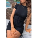 Stylish Womens Solid Color Drawstring Sides Short Sleeve Crew Neck Mini Fitted T Shirt Dress