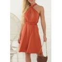 Popular Womens Sleeveless Crisscross Halter Hollow out Bow Tied Waist Midi Pleated A-line Dress in Brick Red