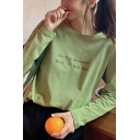 Fancy Girls Letter Do You Remember Print Long Sleeve Round Neck Loose T-shirt